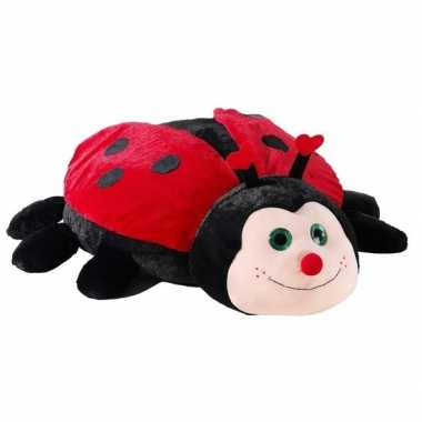 Grote rood/zwarte lieveheersbeestje knuffel 100 cm