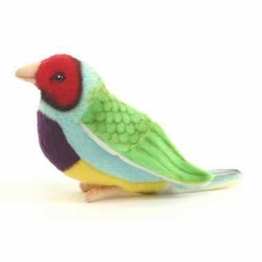 Hansa pluche gouldamadine vogel knuffel groen 11 cm