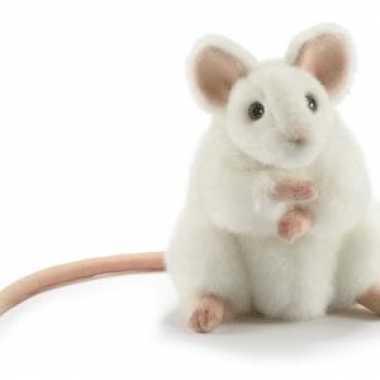 Hansa pluche muis knuffel wit 16 cm