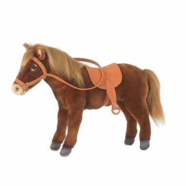 Hansa pluche paard met zadel knuffel 37 cm