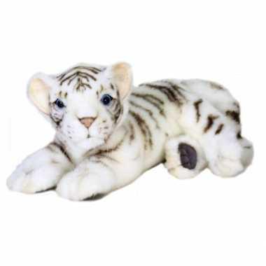 Hansa pluche witte tijger pup knuffel liggend 26 cm