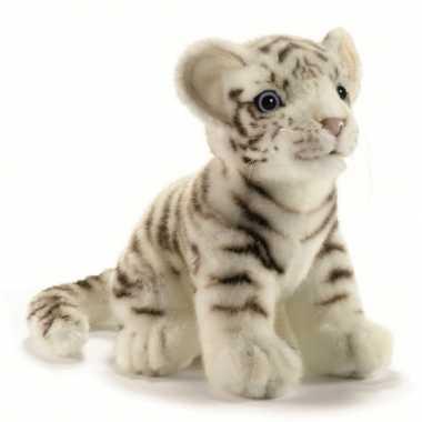 Hansa pluche witte tijger pup knuffel zittend 18 cm