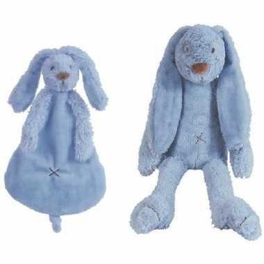 Happy horse richie konijn donkerblauw knuffeldoekje en knuffel