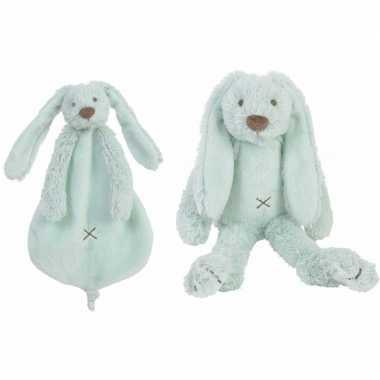 Happy horse richie konijn mint knuffeldoekje en knuffel