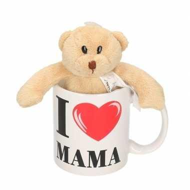 I love mama mok / beker met knuffelbeer voor moederdag