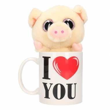 I love you mok met knuffel varken/big