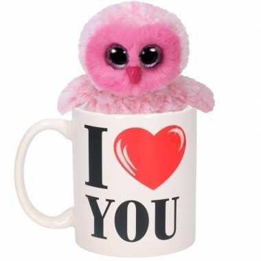 I love you mok met roze knuffel uil