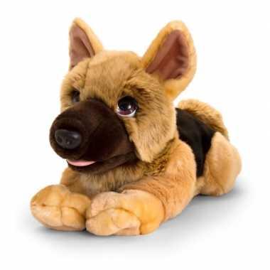 Keel toys grote pluche bruine herdershond honden knuffel 47 cm
