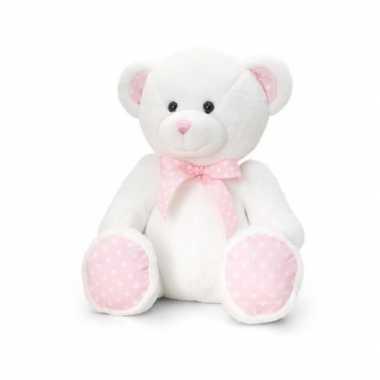 Keel toys pluche baby girl beer knuffel wit met roze 25 cm