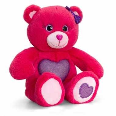 Keel toys pluche beer knuffel roze met paars hart 25 cm