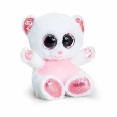 Keel toys pluche beer knuffel wit/roze 15 cm