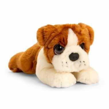 Keel toys pluche bruin/witte bulldog honden knuffel 25 cm