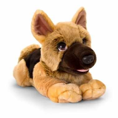 Keel toys pluche bruine herdershond honden knuffel 37 cm