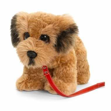 Keel toys pluche bruine ierse terrier met riem knuffel 30 cm
