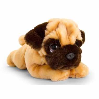 Keel toys pluche bruine mopshond honden knuffel 25 cm