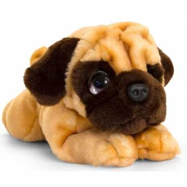 Keel toys pluche bruine mopshond honden knuffel 37 cm