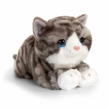 Keel toys pluche grijs/witte kat/poes knuffel 25 cm