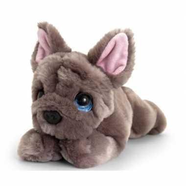 Keel toys pluche grijze franse bulldog honden knuffel 25 cm