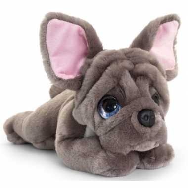 Keel toys pluche grijze franse bulldog honden knuffel 37 cm