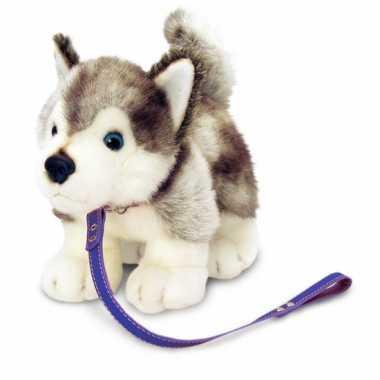 Keel toys pluche husky knuffel aan lijn 25 cm