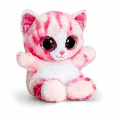 Keel toys pluche kat/poes knuffel roze 15 cm