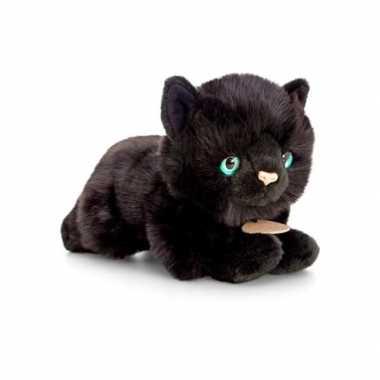 Keel toys pluche katten/poezen knuffel zwart 30 cm