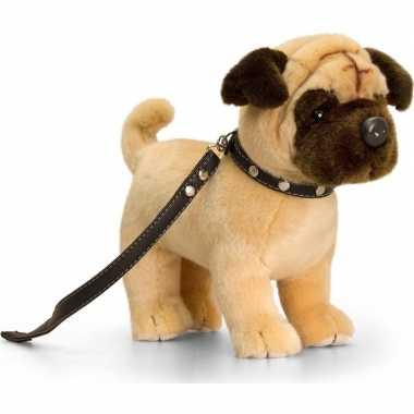 Keel toys pluche mopshond honden knuffel 30 cm met riem