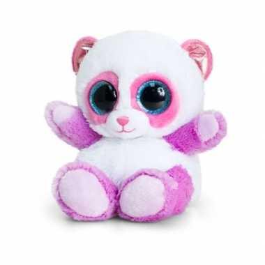 Keel toys pluche panda knuffel lila/roze 15 cm