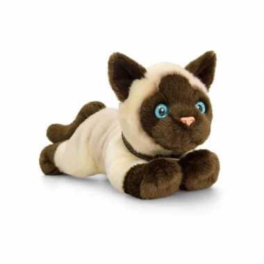 Keel toys pluche siamese katten/poezen knuffel 30 cm