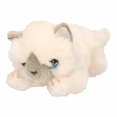 0b773affb1a554 Keel toys pluche witte kat/poes knuffel 25 cm | Knuffel.info