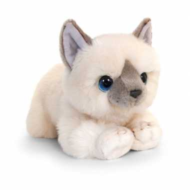 Keel toys pluche witte kat/poes knuffel 32 cm