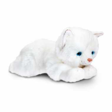 Keel toys pluche witte kat/poes knuffel 35 cm