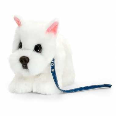 Keel toys pluche witte westie met riem honden knuffel 30 cm