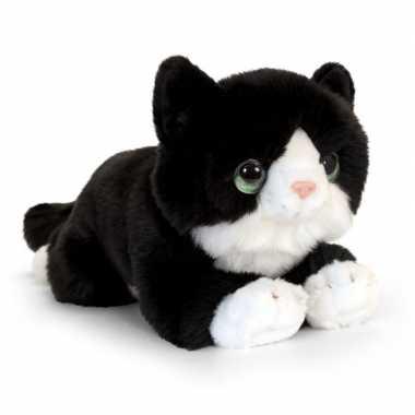 Keel toys pluche zwart/witte kat/poes knuffel 25 cm