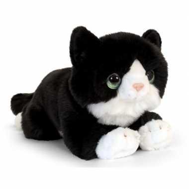 Keel toys pluche zwart/witte kat/poes knuffel 32 cm