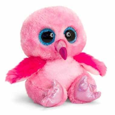 Keel toys roze pluche flamingo knuffel 15 cm met kraalogen