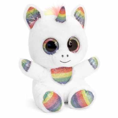 Keel toys witte pluche eenhoorn knuffel 15 cm met kraalogen