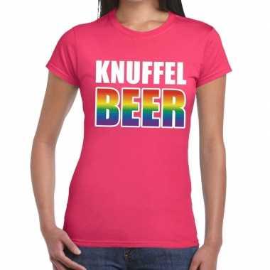 Knuffel beer gay pride t shirt roze voor dames