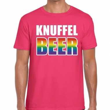 Knuffel beer gaypride t shirt roze voor heren
