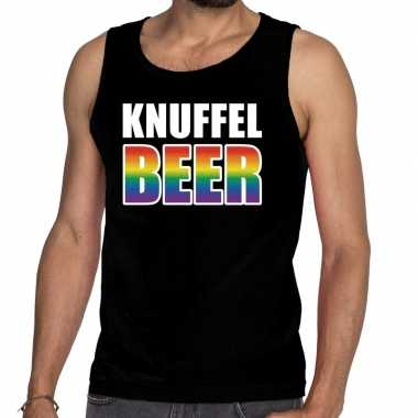 Knuffel beer tanktop/mouwloos shirt zwart heren