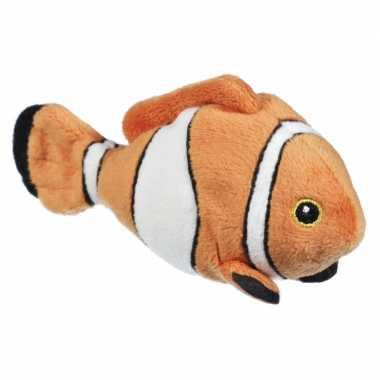 Knuffel clownvis oranje wit 13 cm knuffel