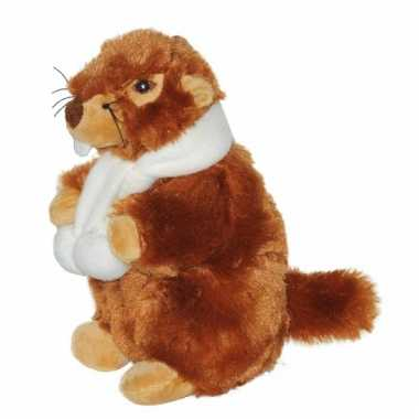 Knuffel marmot met witte sjaal 20 cm knuffel