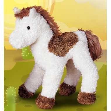 Knuffel paard bruin/wit 23 cm