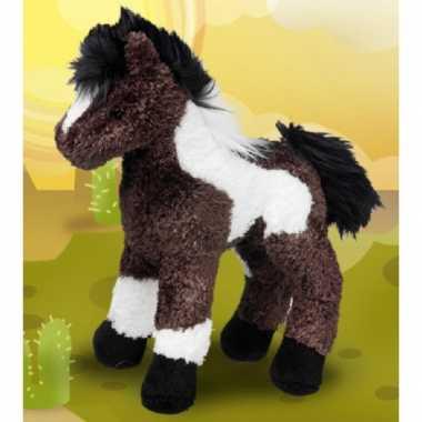 Knuffel paard gevlekt bruin/wit 23 cm