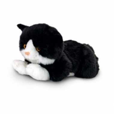Knuffel pluche poes/kat zwart/ met wit van 35 cm