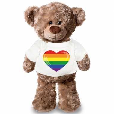 Knuffel teddybeer met gaypride vlag hart t shirt 43 cm