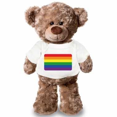 Knuffel teddybeer met gaypride vlag t shirt 43 cm