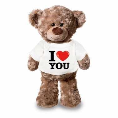 Knuffel teddybeer met i love you shirt 24 cm