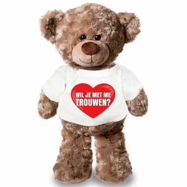 Knuffel teddybeer met wil je met me trouwen hart shirt 43 cm