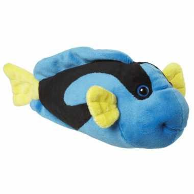Knuffel visje blauw/geel 22 cm